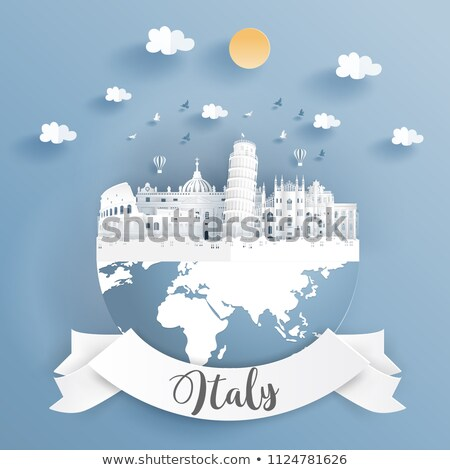 Stock photo: Travel Italy country paper cut world monuments