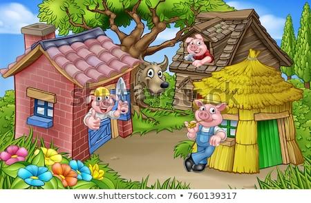 karikatür · üç · domuzlar · büyük · kötü · kurt - stok fotoğraf © krisdog