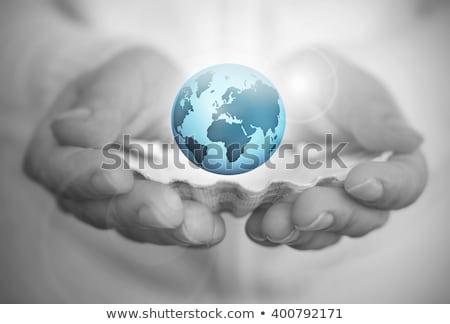 világ · kezek · fotó · nő · tart · üveg - stock fotó © fisher