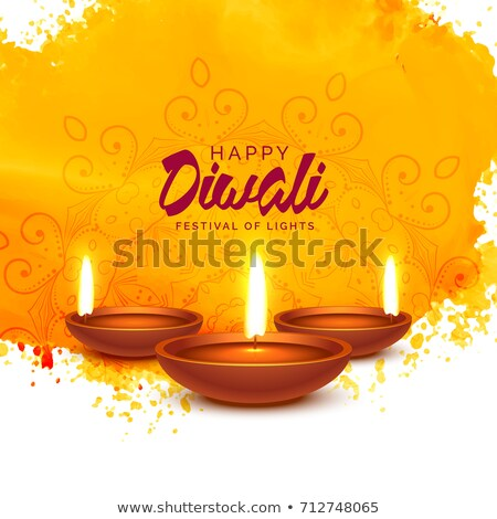 Stock photo: happy diwali vector background with orange watercolor