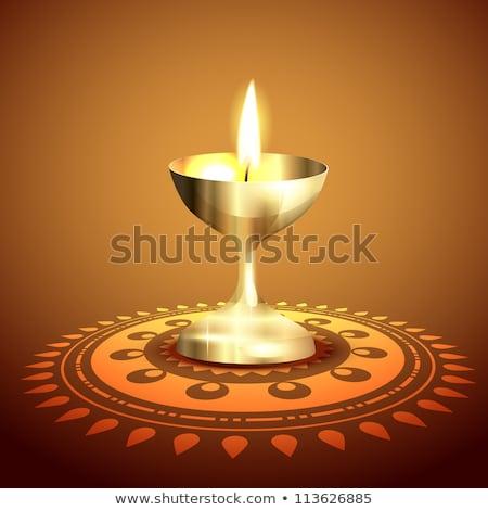 Golden Diwali Diya With Paisley Decoration Stockfoto © PinnacleAnimates