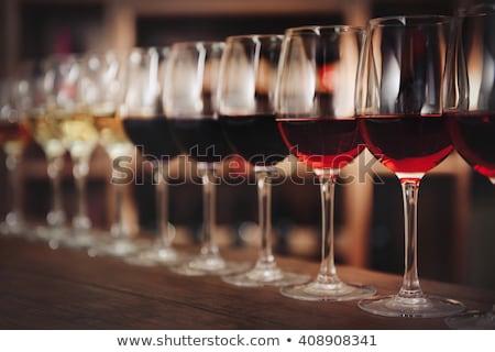 szett · szemüveg · bor · három · borospoharak · piros - stock fotó © neirfy