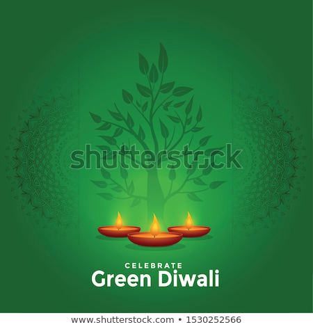 diwali wishes greeting card design with diya Stock photo © SArts
