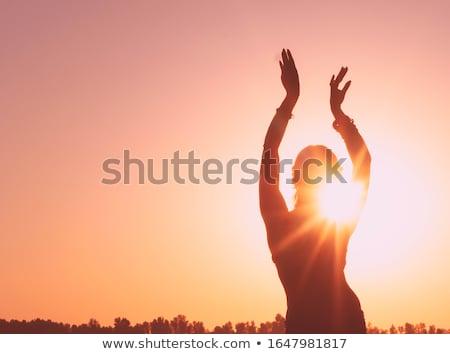 buik · dansen · zwarte · vrouw · silhouet · witte · vrouw - stockfoto © olena