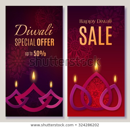 happy diwali design with two diya lamps and sparkles stock photo © sarts