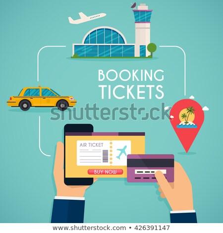 jegyek · repülőgép · okostelefon · utazás · repülőgép · internet - stock fotó © andrei_