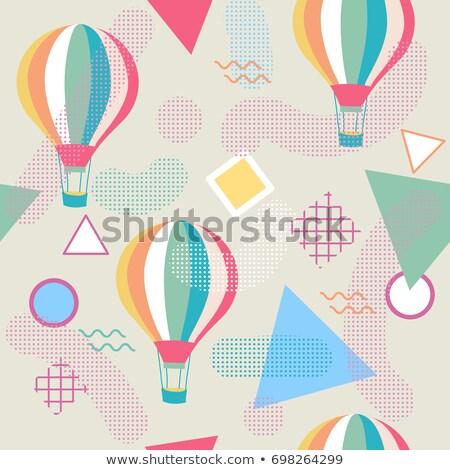 Sıcak · hava · balonu · renkli · soyut · vektör · metin · uzay - stok fotoğraf © balasoiu