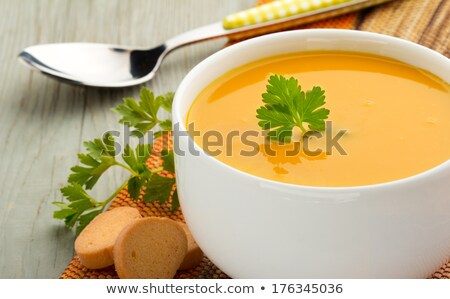 hot potato soup with in cups with bread stock photo © stephaniefrey