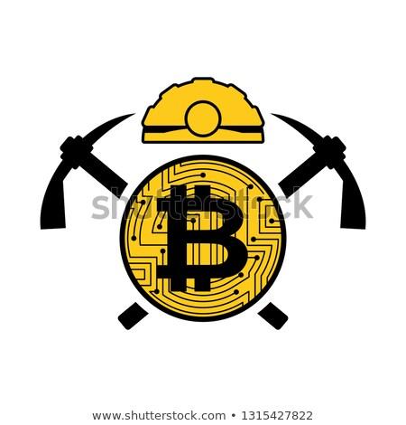 Wydobycie bitcoin logo godło kask monety Zdjęcia stock © MaryValery