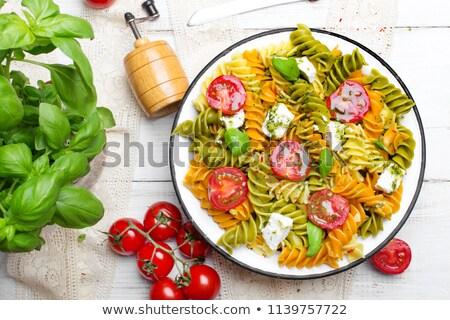 porción · pasta · hoja · placa · tenedor - foto stock © digifoodstock