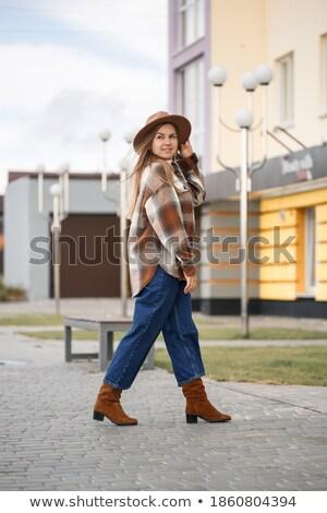 肖像 · 美しい · 幸せ · 女性 · 長い · 茶色の髪 - ストックフォト © deandrobot