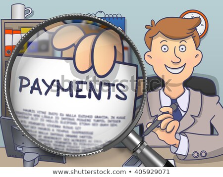 Online Payment through Magnifying Glass. Doodle Concept. Stock photo © tashatuvango