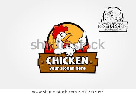 Tavuk logo horoz civciv ayarlamak toplama Stok fotoğraf © Elensha