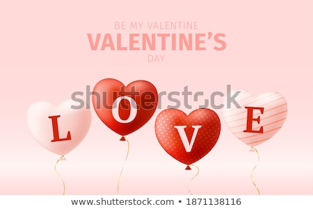 message love you on the heart shaped red balloon 3d stock photo © user_11870380