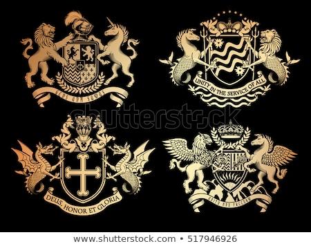 Dragon Shield Heraldic Crest Coat of Arms Emblem Stock photo © Krisdog