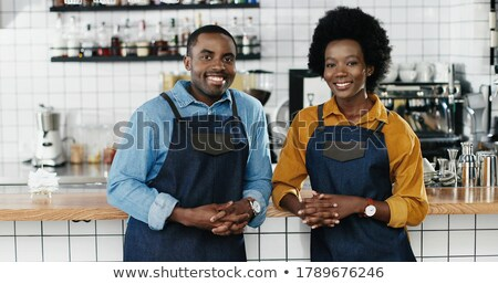 Homme couple travail restaurant femme souriant Photo stock © IS2