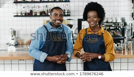 női · pár · dolgozik · étterem · nő · mosolyog - stock fotó © IS2