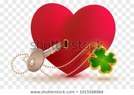 vermelho · coração · trancar · grande · metal · amor - foto stock © orensila