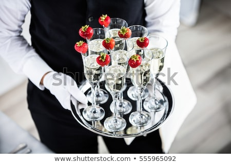 mutlu · çift · şişe · şampanya · gözlük · kutlama - stok fotoğraf © denismart