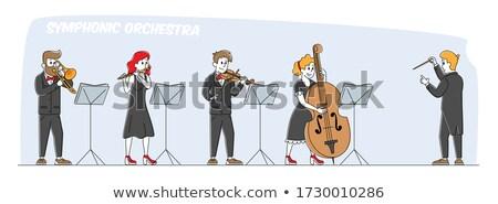 Flöte Spieler Orchester Frau Schönheit Konzert Stock foto © IS2