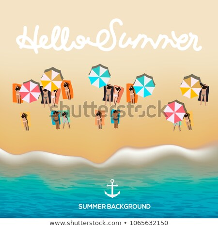 hello summer poster beach with waves umbrellas bright towels vector illustration stock photo © ikopylov