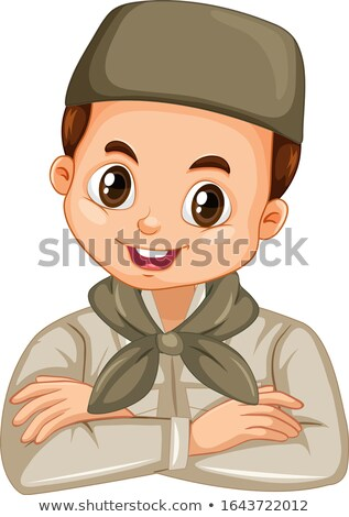 Musulmanes nino safari traje ilustración feliz Foto stock © bluering