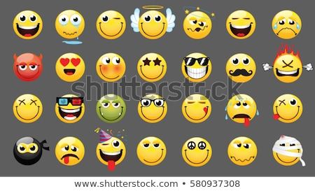 Smiling Yellow Cartoon Smiley Face Character With Wink Expression Stock photo © hittoon