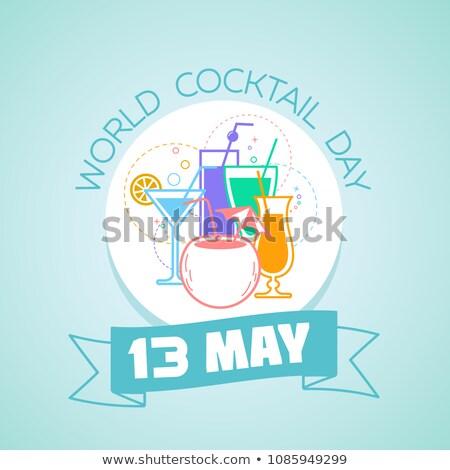 13 mundo cóctel día calendario tarjeta de felicitación Foto stock © Olena