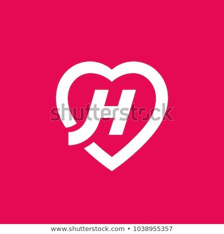 h · betű · szív · logo · ikon · design · sablon · körvonalak - stock fotó © krustovin
