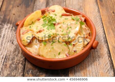 Francuski ziemniaczanej boczek ser tle jedzenie Zdjęcia stock © M-studio