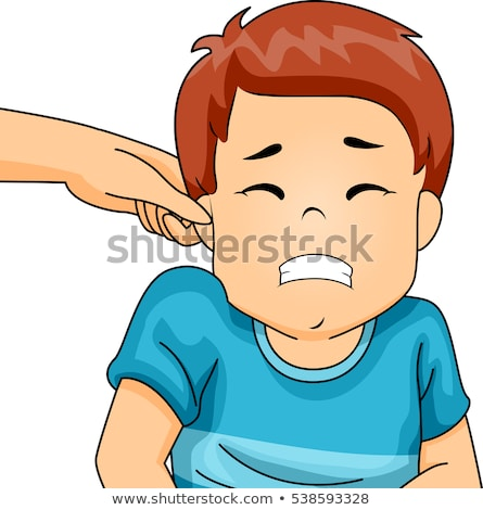 Kid Boy Pinch Ear Wince Stock photo © lenm