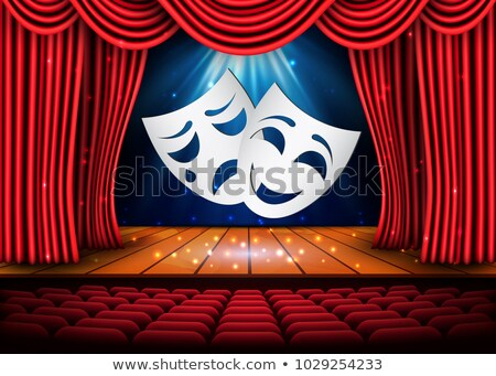 Happy and sad theater masks, Theatrical scene with red curtains and reflection. Stock vector illustr Stock photo © olehsvetiukha