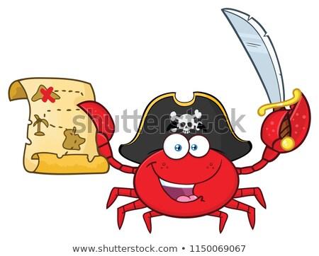 Pirackich Krab maskotka cartoon charakter treasure map Zdjęcia stock © hittoon