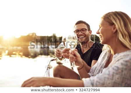 amoroso · casal · ao · ar · livre · potável · vinho · foto - foto stock © deandrobot