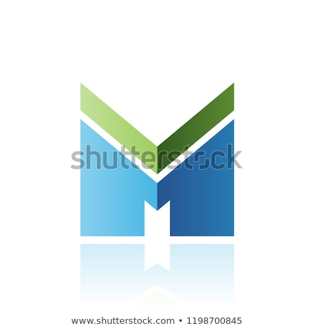 Green and Blue Letter M with a Thick Stripe and Reflection Vecto Stock photo © cidepix