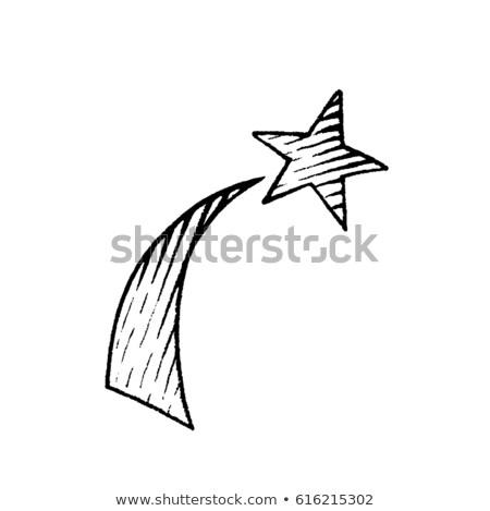 Stylu atramentu rysunek spadająca gwiazda wektora tęczy Zdjęcia stock © cidepix