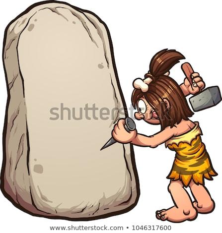 Cartoon Cavewoman Rock Stock photo © cthoman