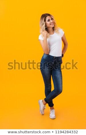 Retrato europeu mulher bonita 20s cabelos longos Foto stock © deandrobot