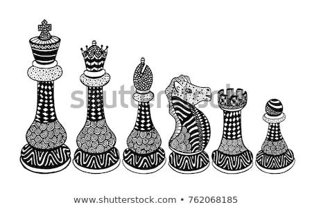 gelukkig · cartoon · schaken · koningin · illustratie · schaakstuk - stockfoto © cthoman