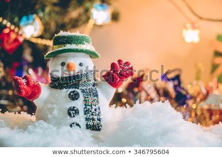 vidám · karácsony · derűs · hóember · ajándék · ajándék - stock fotó © ori-artiste