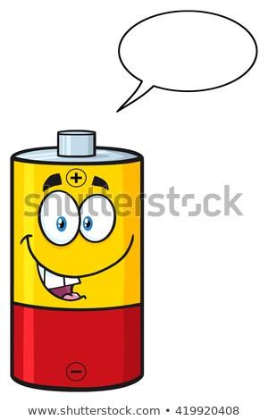 Parlando batteria mascotte carattere fumetto isolato Foto d'archivio © hittoon