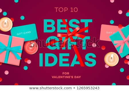 Valentines day sale banner, best gift ideas, gift box, candles, gift certificate, confetti, vector i Stock photo © ikopylov