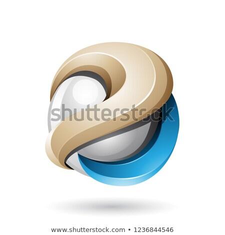 Beige Blauw metalen glanzend 3D bol Stockfoto © cidepix