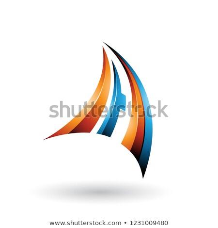 Blauw oranje dynamisch glanzend vliegen brief Stockfoto © cidepix