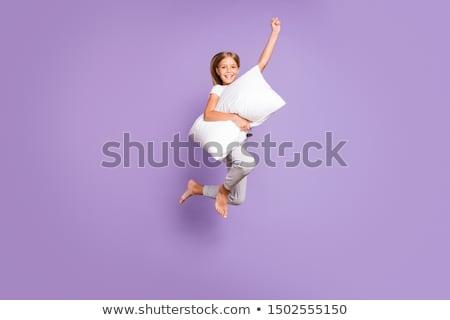 Női ibolya fehér szuperhős illusztráció nő Stock fotó © colematt