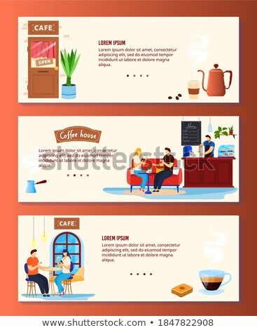 cafe with customers drinking beverage set vector stock photo © robuart