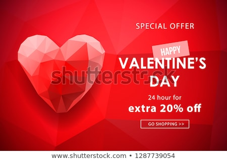 Valentines day sale background with polygonal Heart shaped. Vector illustration. Wallpaper, flyers,  Stock photo © ikopylov
