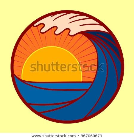 Verão água onda sol círculo logotipo Foto stock © blaskorizov