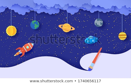 Spaceship flying in universe Stock photo © colematt