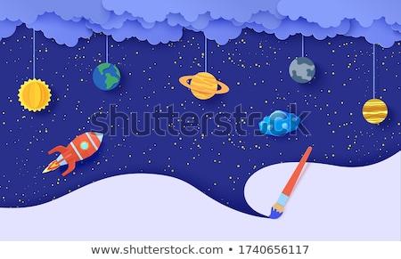 космический корабль Flying Вселенной иллюстрация природы пейзаж Сток-фото © colematt